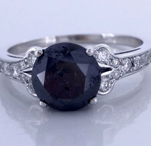 14kt gold ring with a black diamond total  1.40 ct - *** No reserveprijs ***