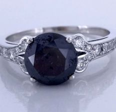 14kt gold ring with a black diamond total  2.10 ct - *** No reserveprijs ***