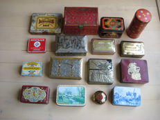 Collection of 16 old tins, including Art Deco - 1900 - 1950, Belgium and the  Netherlands
