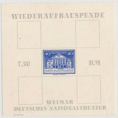 Soviet Zone - Thüringen - 1945 - National Theatre without overprint of the value 6, 10, 12, 16 Pf., Michel block 3 AX FII