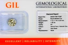 Diamant - 1.35 ct - Fancy Yellowish Gray - SI1 - Zonder Reserve Prijs