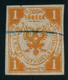 Lübeck - 1859 - 1 shilling light-orange, coat of arms of Lübeck, Michel 2