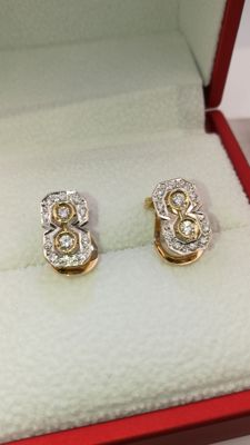 18 kt gold earrings in Art Deco style with natural diamonds 0.52 ct