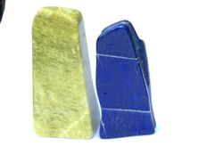 A set of two Mineral freeforms - Lapis Lazuli and Serpentime - 14 to 16cmcm - 1266grams (2)