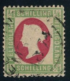 Helgoland - 1873 - 1/4 shilling light green/carmine Queen Victoria, printing error, Michel 8 F