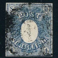 Schleswig-Holstein - 1850 - 1 shilling blue, eagle with coat of arms Michel 1a