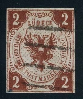 Lübeck - 1859 - 2 Schlling, coat of arms from Lübeck, printing error 'TWO AND A HALF', Michel 3F with photo certificate Mehlmann BPP