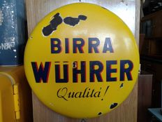 Plate - enamelled Wuhrer beer button