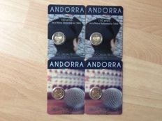 Andorra – 2 Euro 2016 '25 Years of Radio and Television and '150 Years New Reform' (4 pieces in total) in Coin cards