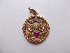 Rare Augis love medal, gold and ruby