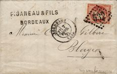 France 1870 - Bordeaux Issue Yvert no. 48 dark blood-red on letter signed Calves and Scheller.