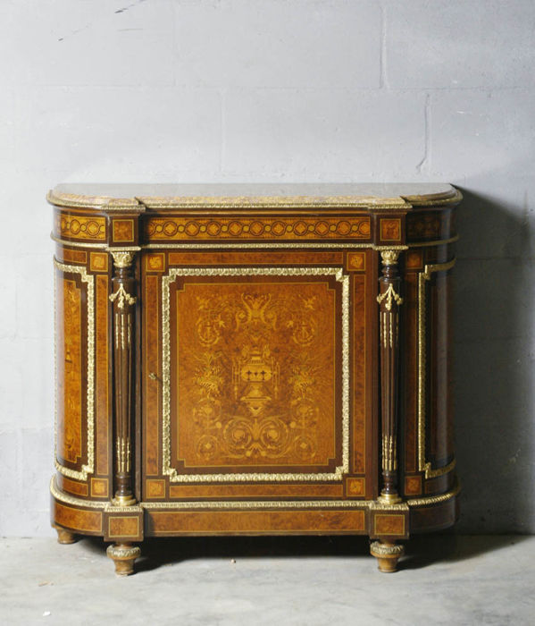 a napoleon iii rosewood carrot and fruit wood marquetry meuble dappui hauteur
