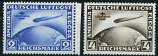 German Empire/Reich - 1930 - South American Journey Graf Zeppelin, 2RM, 4RM, Michel 438Y-439X