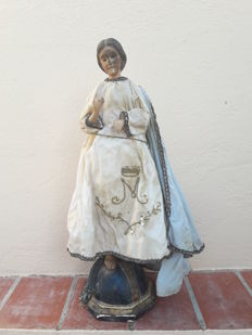 Antique 'Cap i pota' polychrome wooden sculpture of the Immaculate Virgin - Spain - 19th century