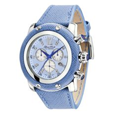 Glam Rock - Women's watch, steel with blue leather and blue mother-of-pearl dial with diamond