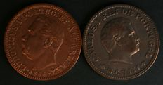 Portugal - Two ¼ Tanga Coins - 1886 Luís I (UNC) – 1903 Carlos I (EF) – Colony of India