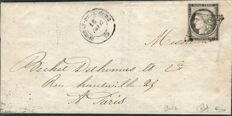 France 1849 - Cérès 20c Yvert no. 3i - grey shades - cancelled with grid on a letter signed Calves.