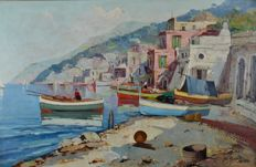 S Martini (20th century) - An Italian harbour scene with fishing boats