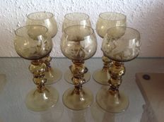 Sculpted crystal glasses