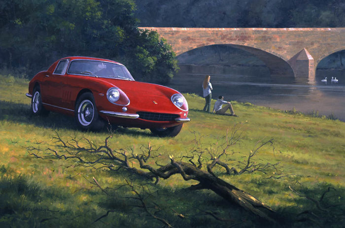 "Art Print Exclusive Serie - Ferrari 275GTB ""River Side""  - Artist : Keith Woodcock"