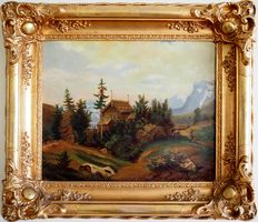 Unknown (19th century)   - Alpine landscape with a hunter near the house - oil on canvas - signed and dated