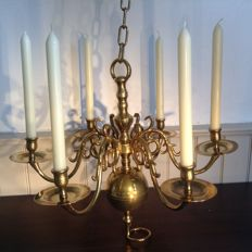 Heavy solid copper candle chandelier