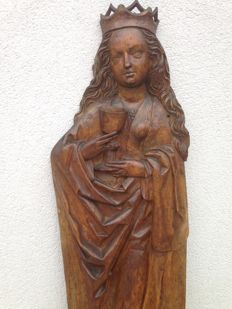 Very large relief figure, Saint Barbara - origin: Rhinelad/Belgium - ca 1490