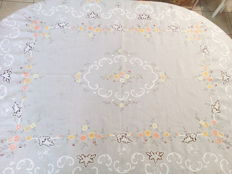 Hand embroidered tablecloth with 12 napkins