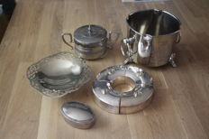Set heavy silver plated items candle holder sugar bowl jewellery box, 20th century