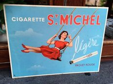 "Original advertising sign cigarette ""St Michel"" pin-up - 1960s"