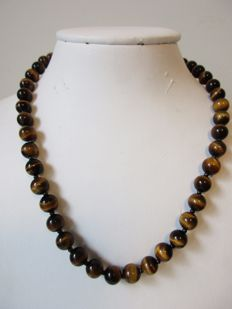 14 kt tiger´s eye women´s necklace - gold clasp