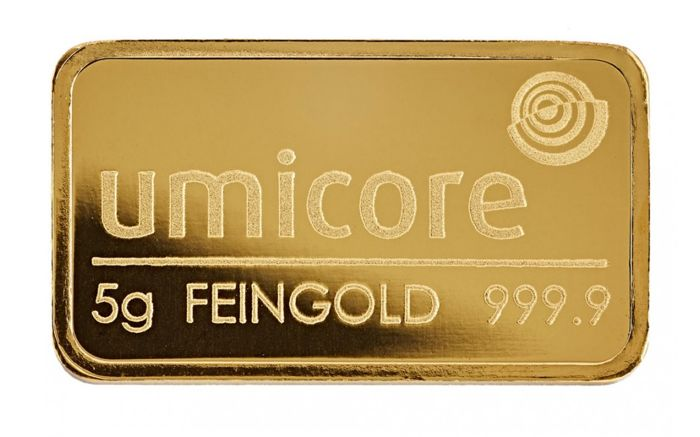 5 grams gold bar by Umicore