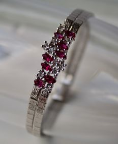 !ca. 1950/70 Beautiful solid satiny silver bracelet with Rubies and white Topas ca. 1.58Ct. total