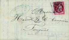 France 1870 - Sent from Bordeaux 80 centimes nuance Groseille (exceptional intense nuance) - Yvert n ° 49d on letter signed Calves