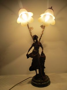 Table lamp bronzed figure of a woman with two lamps