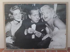 Old poster, large format, Hollywood Triangle, Marilyn Monroe, Humphrey Bogart, Lauren Bacall