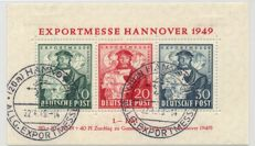 Allied Occupation - 1949 - exports trade fair Hannover 30 Pf. black-violet-ultramarine, Michel block 1c
