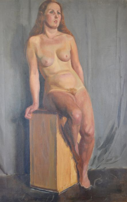 LS Michael OBE. (20th century) - A nude woman sitting on a plynth.