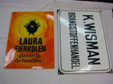 2 advertising signs - Laura eierkolen and K.Wisman
