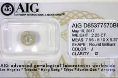 Brilliant cut diamond, 2.25 ct – J / I2 – No Reserve Price