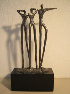 "Corry Ammerlaan van Niekerk - rare, silver-plated and signed sculpture on marble base - ""Visie"""