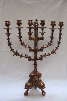 Antique synagogue menorah candlestick-Germany-Second half 18th century