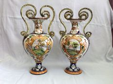 Faenza - Twin earthenware vases
