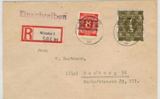 Allied Occupation - 1948 - 1 RM brown-olive with overprint on the net on a registered letter, Michel A IX/II
