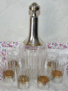 Antique decanter and 6 cups, cut crystal and sterling silver, Minerva 1st grade hallmarks (950/1000), Fort Paul Paris 1910