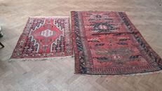 Two old Persian carpets, 127 x 85 + 197 x 126 cm