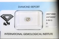 Brilliant cut diamond, 0.59 ct – G, I1.