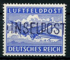 "Field post - 1945 - ""Island Leros"" hand-stamped overprint on toothed field post stamp, Michel 11 A a"
