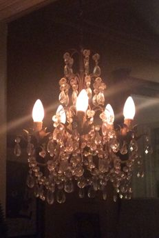 Classic chandelier with five light fixtures contained in flower holders, ca. 1930