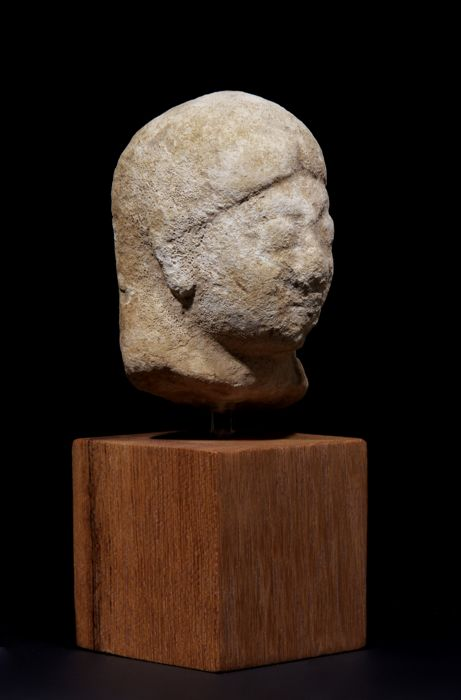 Fine Provenance Ancient Greek Cypriot Stone Head of Kouros - 8 cm